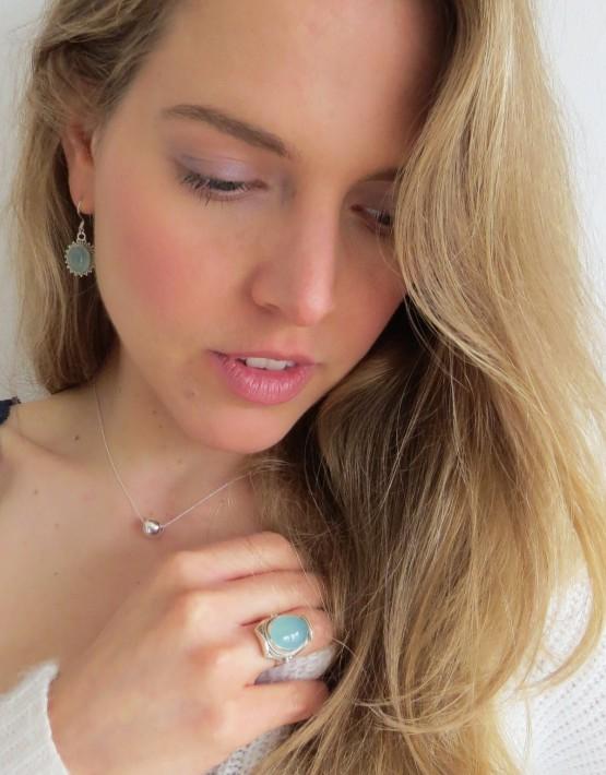 Aqua Stein Ring & Ohrring+ Kette Neso